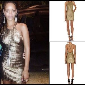 Rihanna River Island Gold Embossed Dress 8 Small